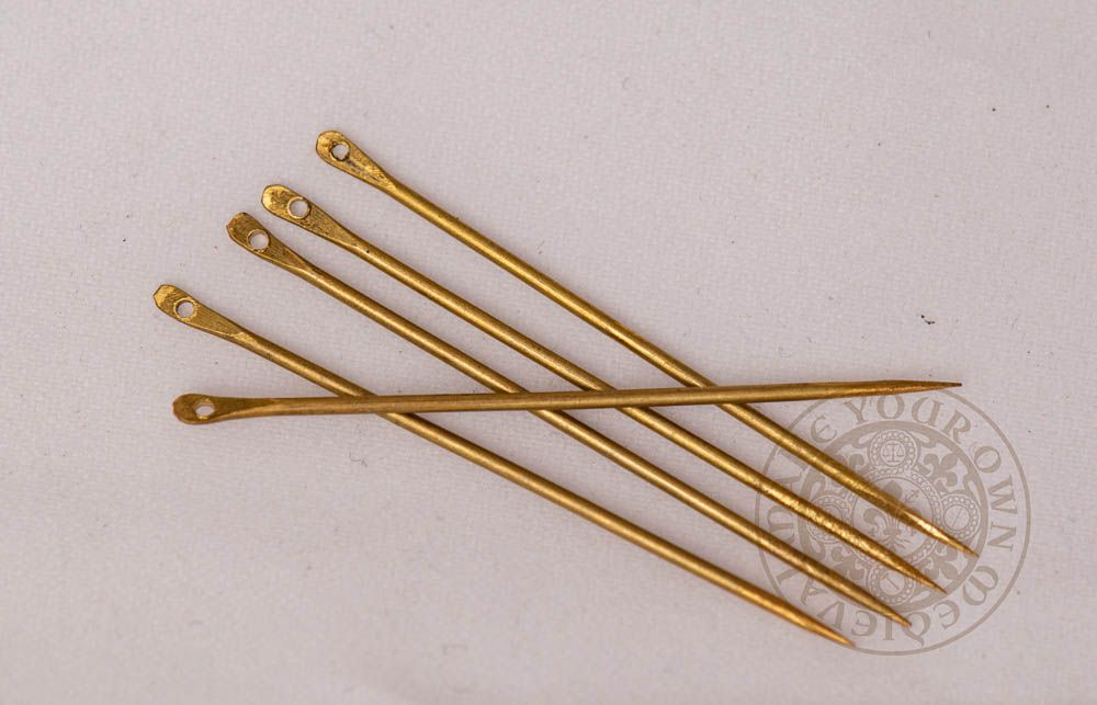 Renaissance reproduction brass needle set for historical reenactment in small size