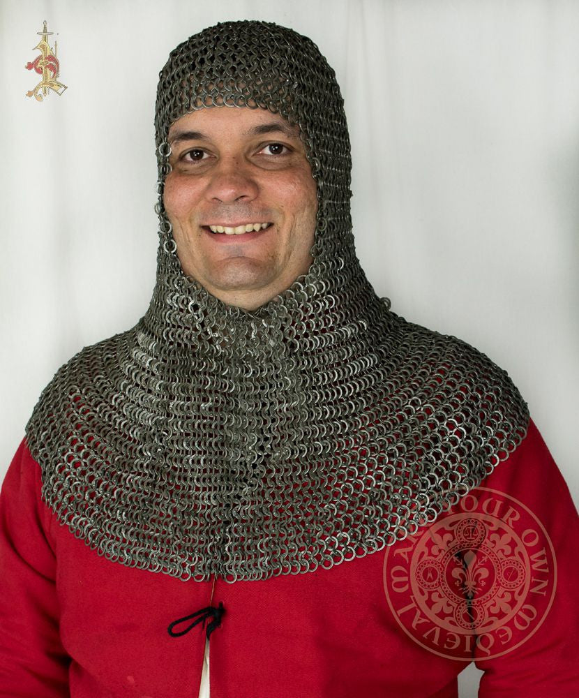 Riveted chainmail coif medieval reenactment armour