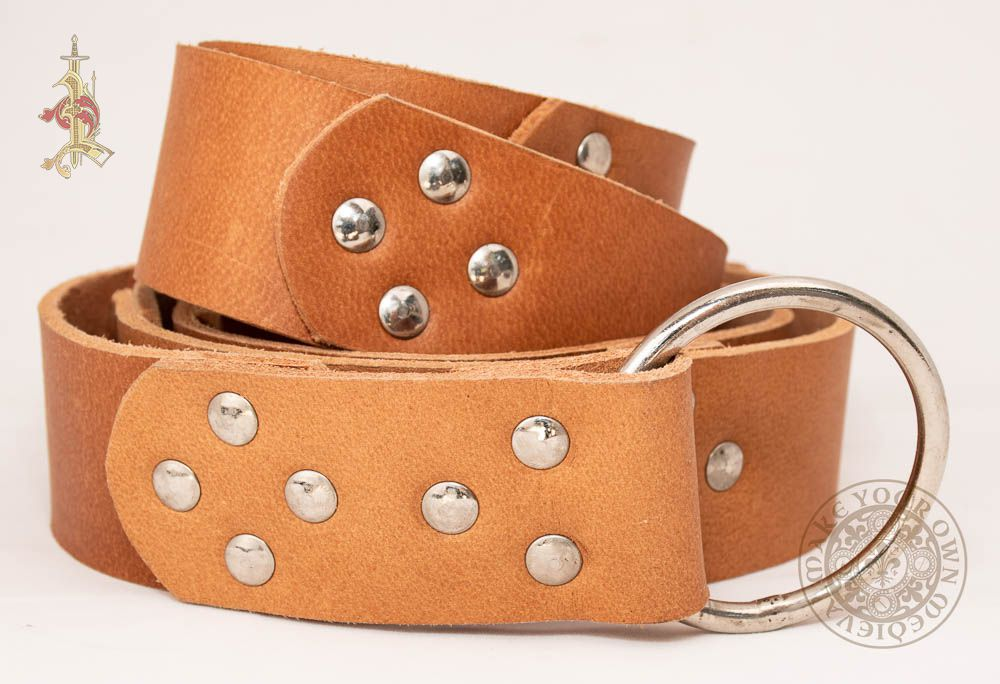 SCA Viking ring belt made from light brown leather