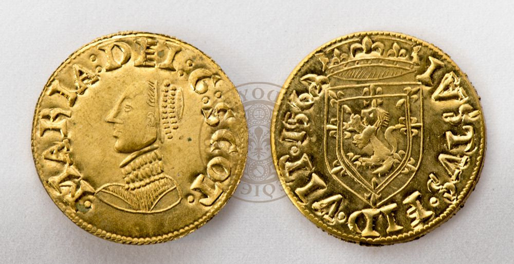 (1555) Scottish 16th century Mary Queen of Scots Gold Three Pound Noble Coin.