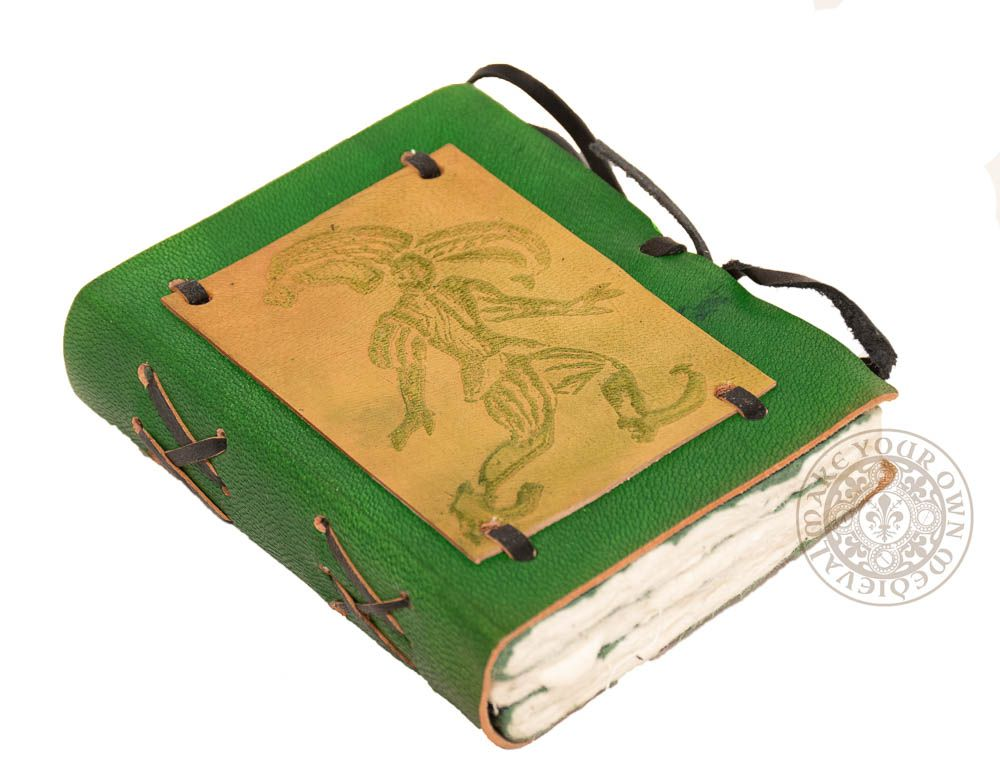 Small leather jester journal in green leather