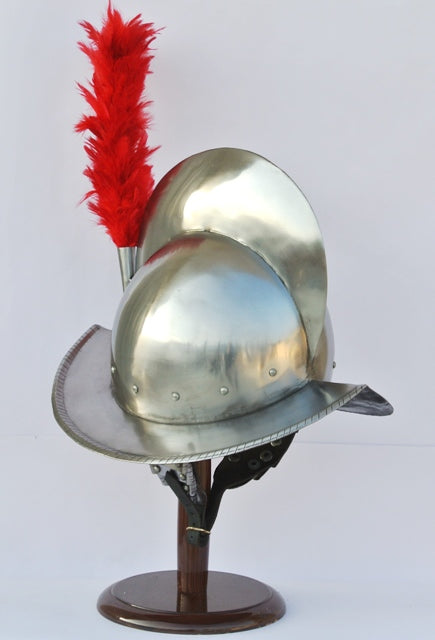 Spanish Comb Morion Helmet With Red Feather