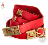 14th century reenactment Medieval belt with wolf belt buckle, end and mounts in red leather