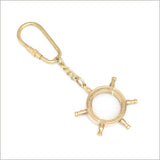 Steampunk keychain in shape of ships wheel made from brass
