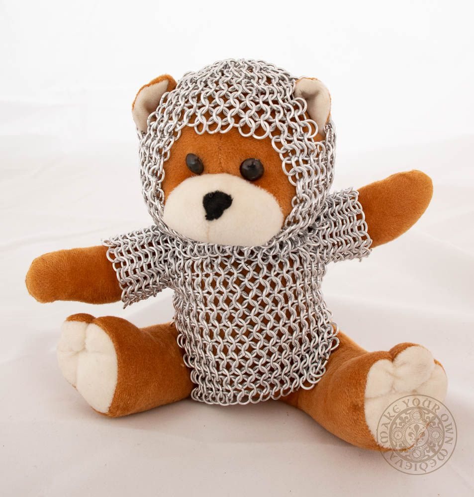 Teddy bear knight with chain mail armour