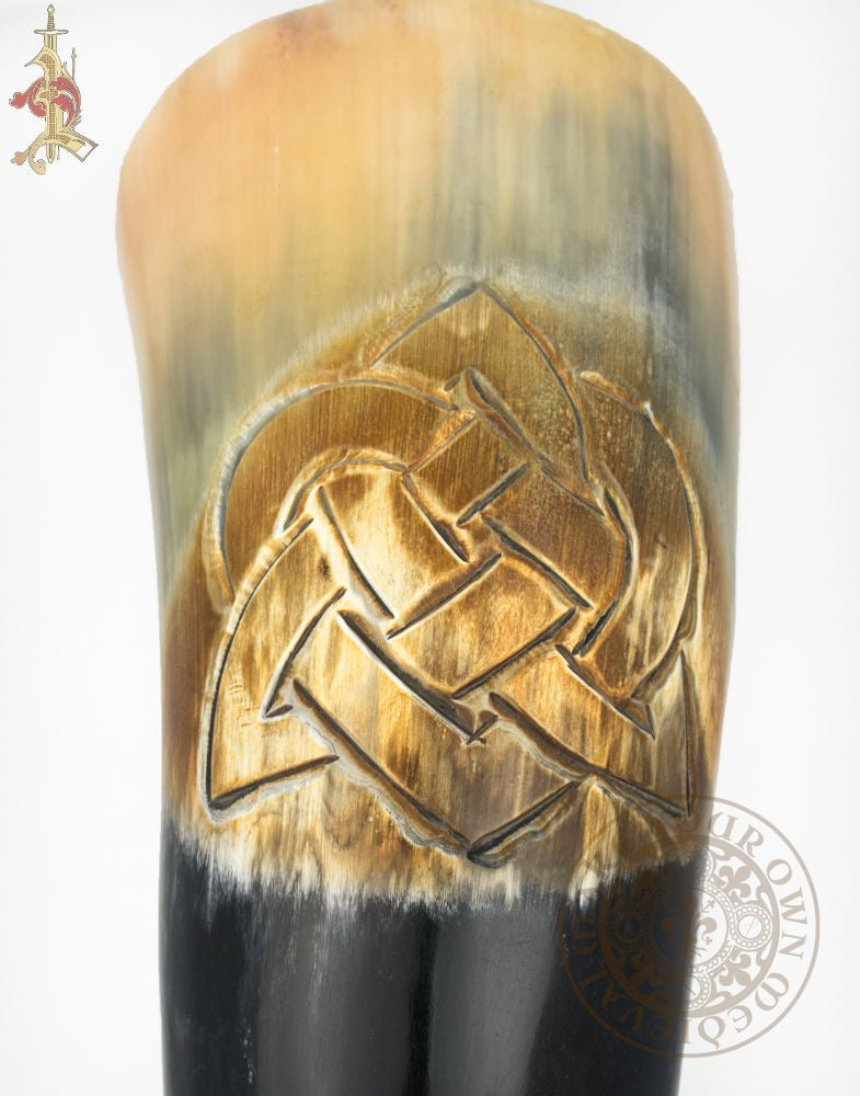 Triquetra Celtic knot Carved Drinking Viking Horn with forged stand