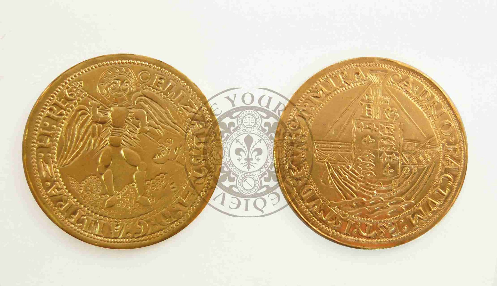 Tudor gold angel coin minted by Elizabeth I reproduction