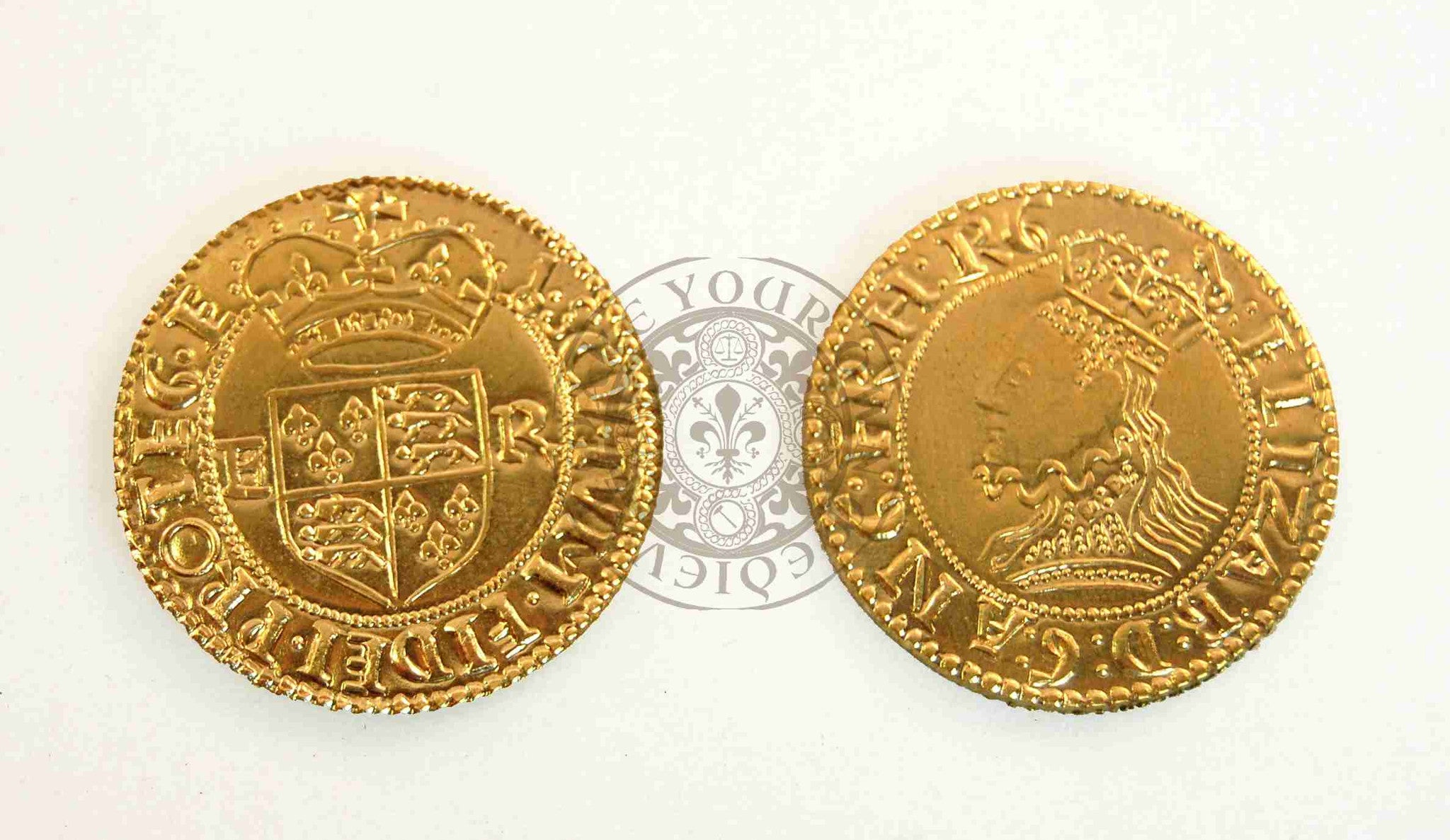 Tudor half crown coin minted by Elizabeth 1st reproduction