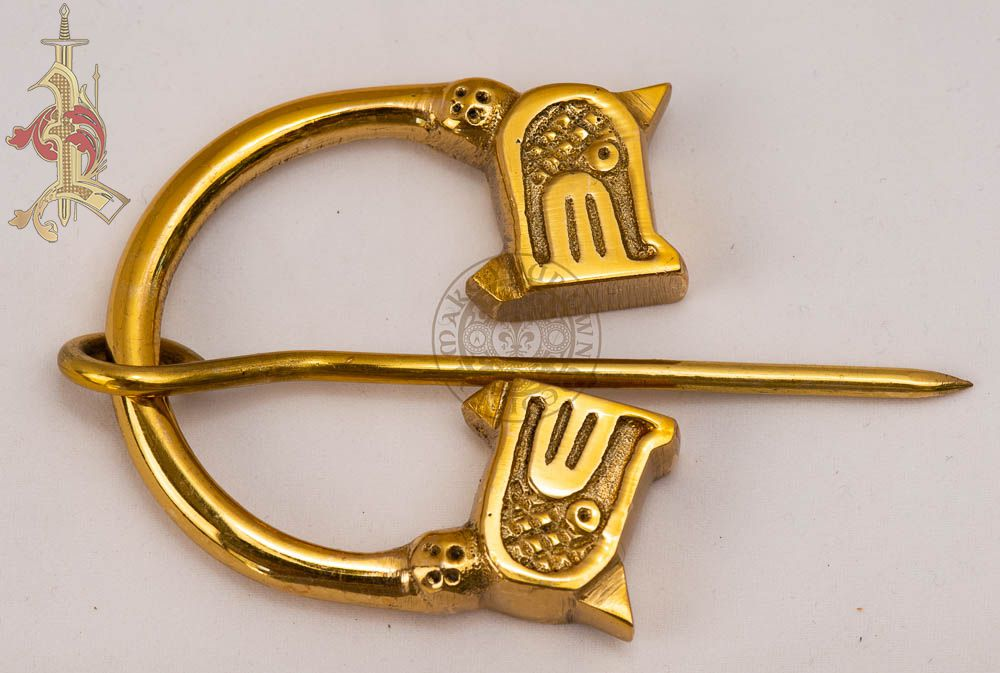 Viking Brass Cloak Clasp - Midgard Serpent