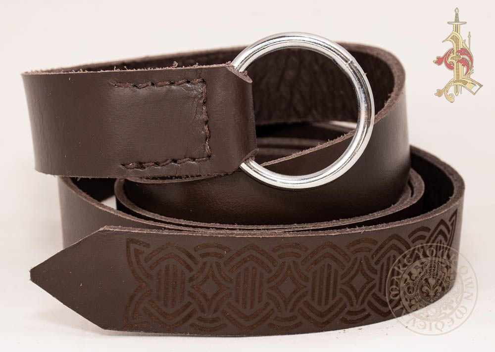 Viking LARP Ring Belt in Brown  leather With Knotwork Design