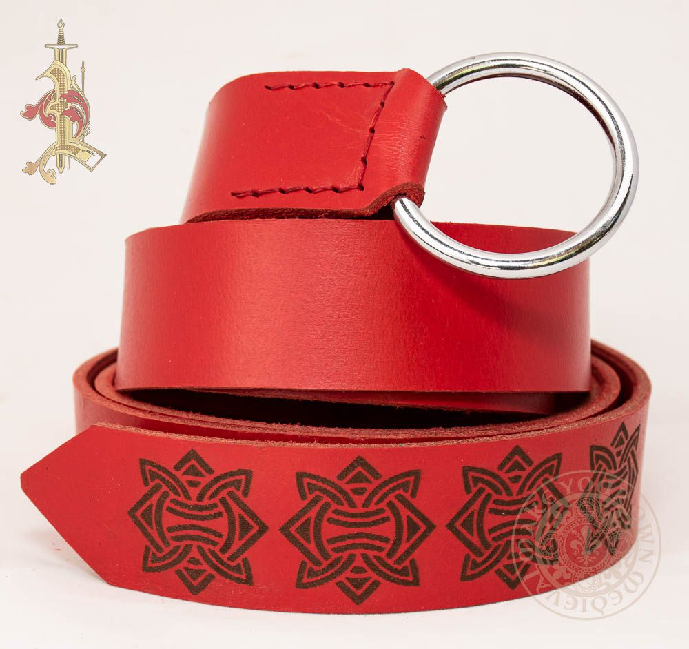 Viking LARP Ring Belt in Red leather With Knotwork Design