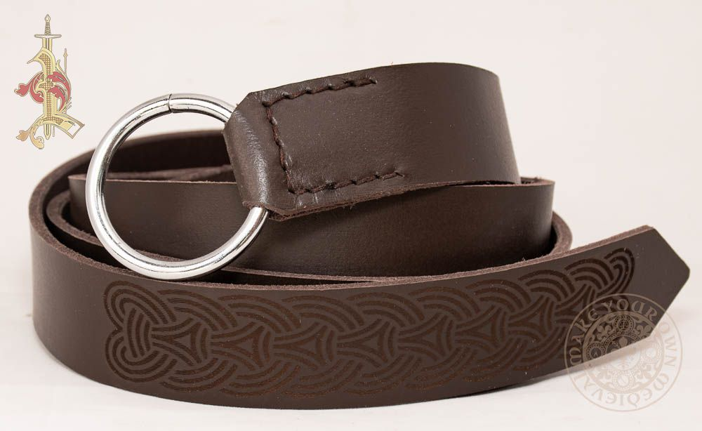 Viking Ring Belt in Brown  leather With Knotwork Design