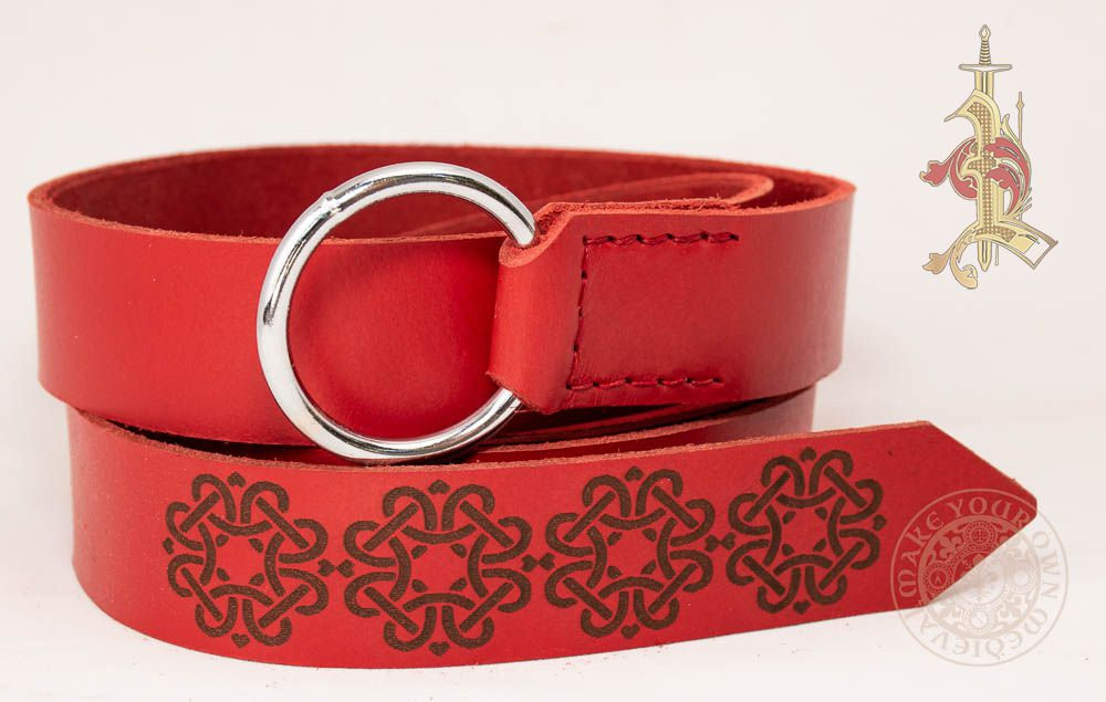 Viking Ring Belt in Red leather With Knotwork Design
