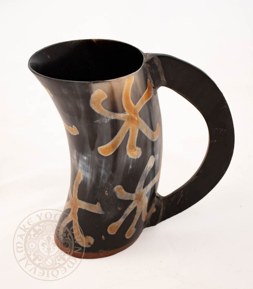 "Horn Ale Tankard with Handle - 12.7cm - 15.25cm (5""-6"") Tall Burnt Design"