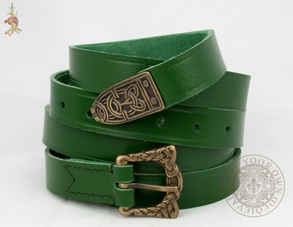 Viking belt with Knotwork Buckle and Strapend in Green Veg Tan leather