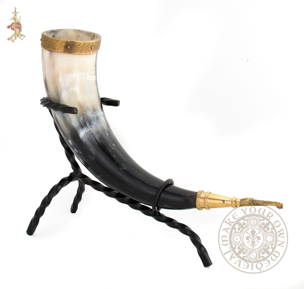 Viking drinking horn brass eagle terminal end