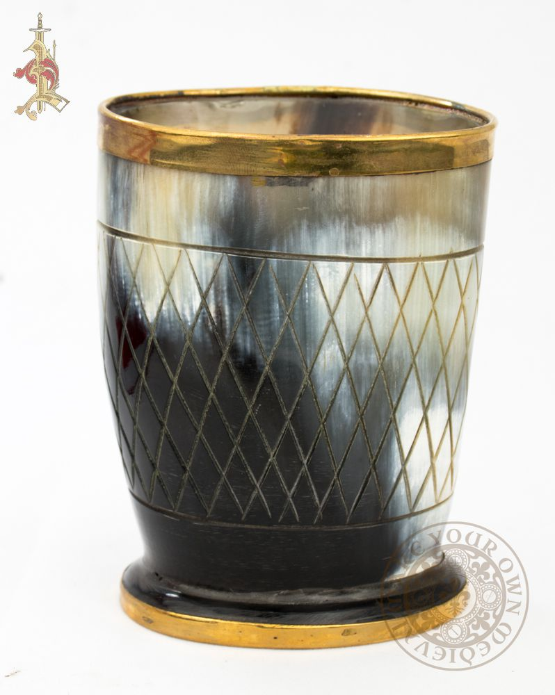 Viking horn cup with decorative brass and engraving