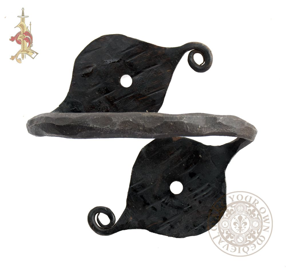 Viking or Medieval chest handle with leaf design hand forged from steel
