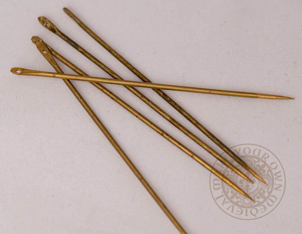 Viking reproduction brass needle set for historical reenactment large size