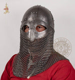 Viking reproduction helmet with chainmail aventail