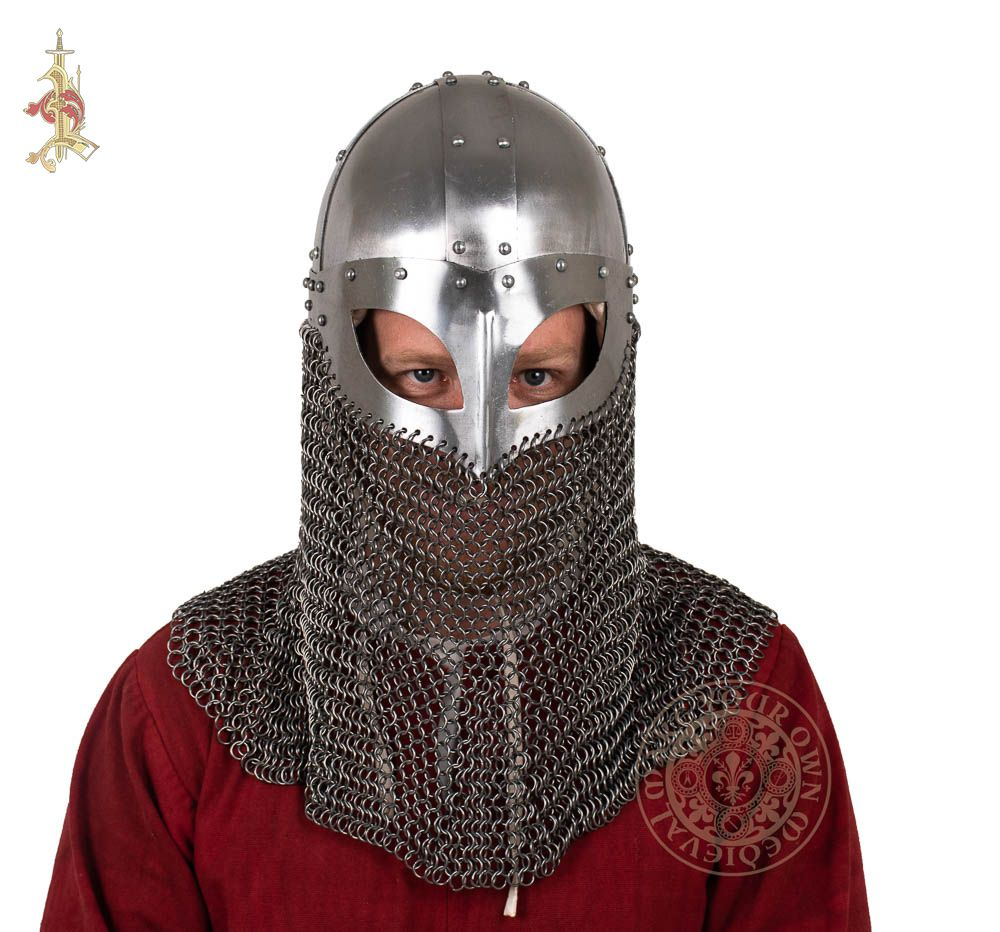 Viking combat reenactment helmet with chainmail face protection