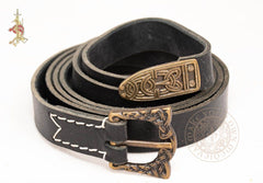 Viking leather belt made from black leather