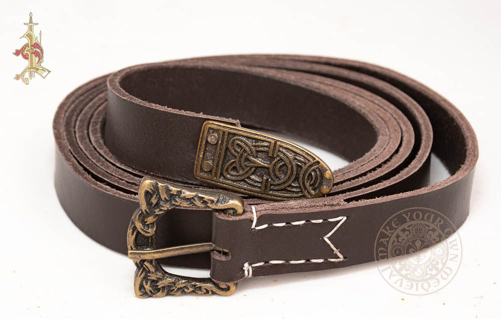 Viking leather belt made from brown leather