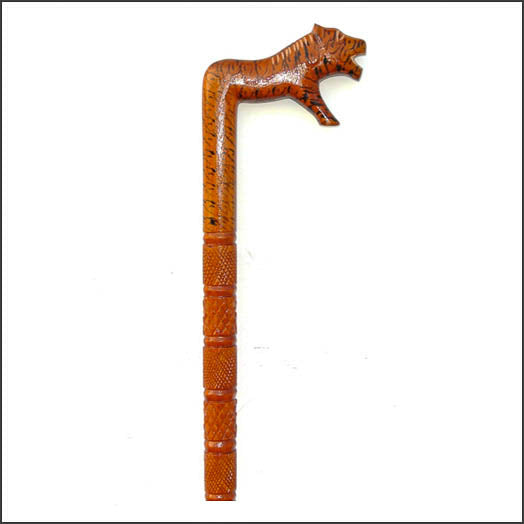 Walking Stick with Tiger Design made from wood available in Australia