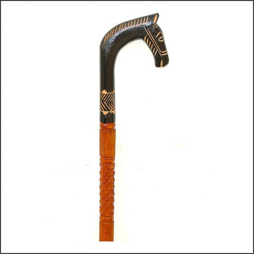 Walking Stick with Zebra Handle made from wood