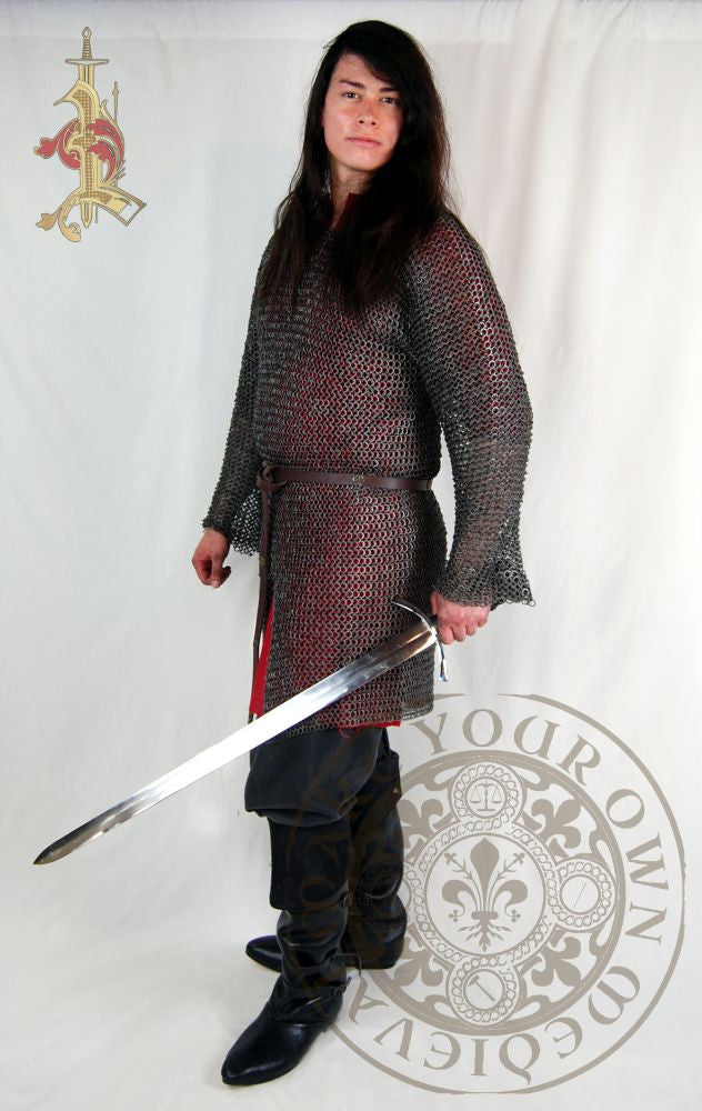 Wedge riveted chainmail hauberk armour for medieval reenactment and combat