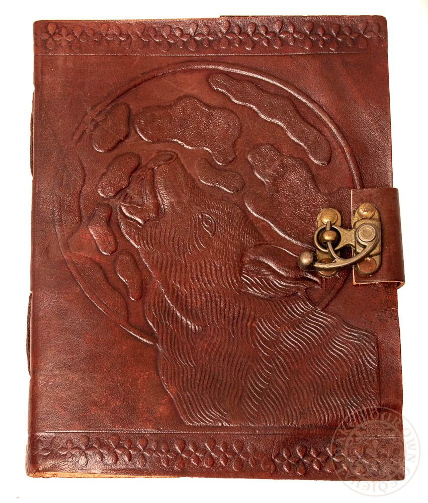 Wolf howling in front of moon leather diary for Pagan book of shadows