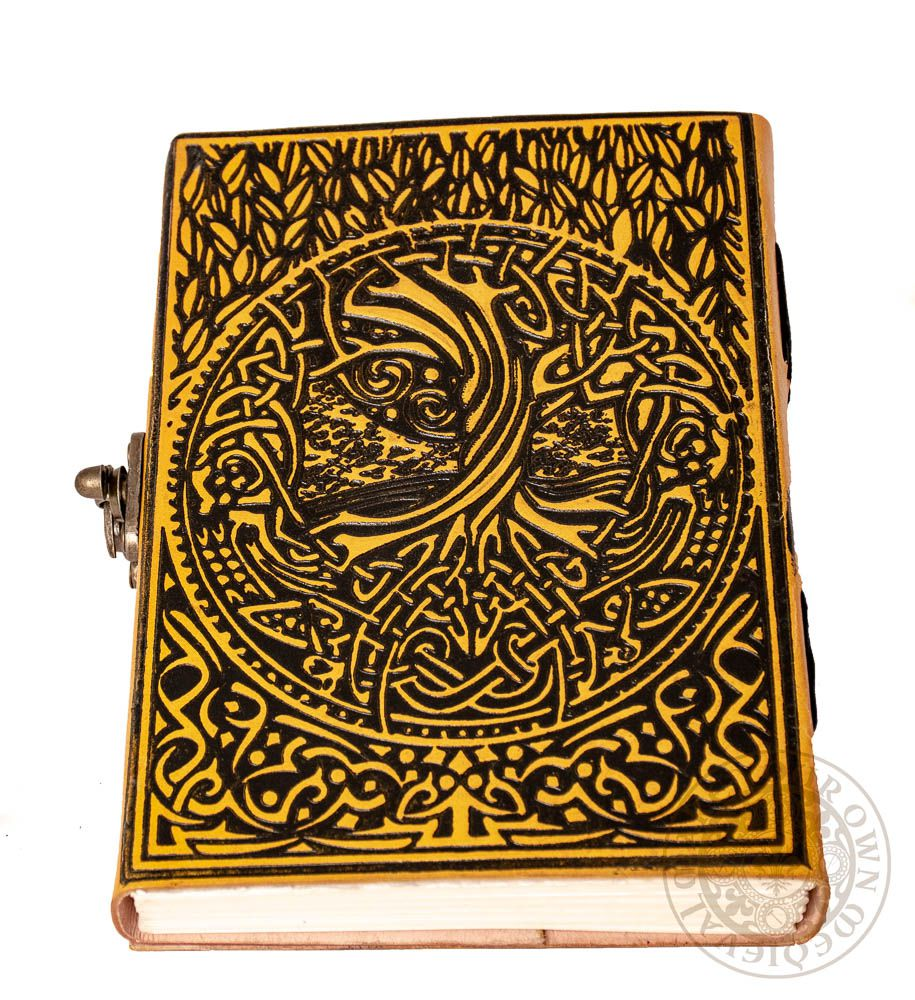 Yggdrasil Tree of Life Viking Leather Journal - Yellow