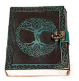 Yggdrasil Tree of Life Pagan green Leather Journal with lock