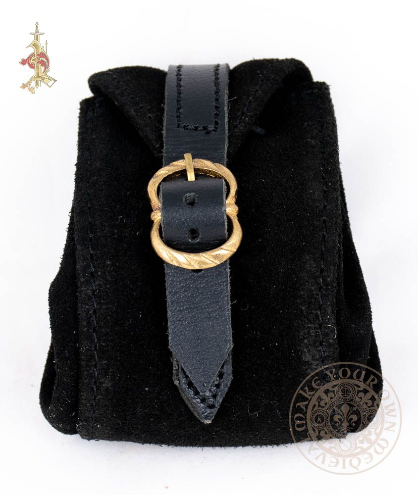 black suede renaissance bag with brass buckle