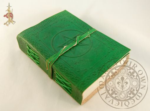 book of shadows pagan with pentagram in green leather
