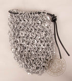 chainmail dice bag made from riveted aluminium mail