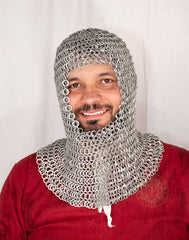 coif made from Aluminium rings for LARP and theatre crusader armour costume