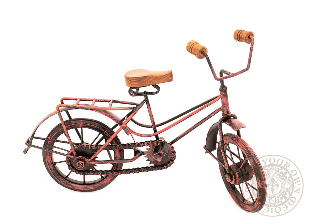 decorative metal vintage bicycle sculpture in red