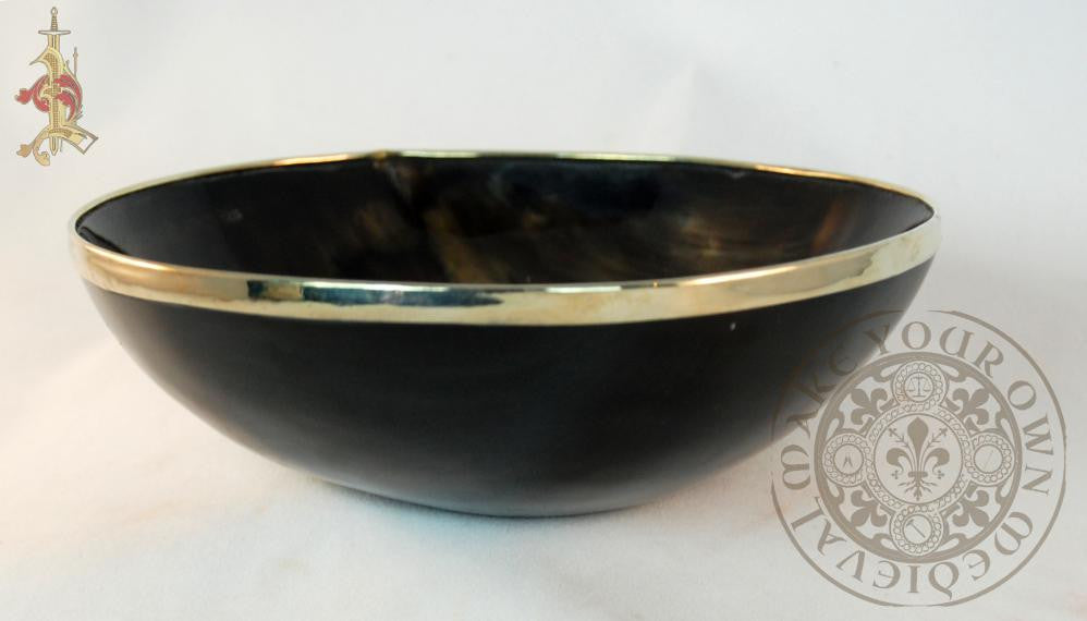 horn bowl with brass trim feasting gear Medieval