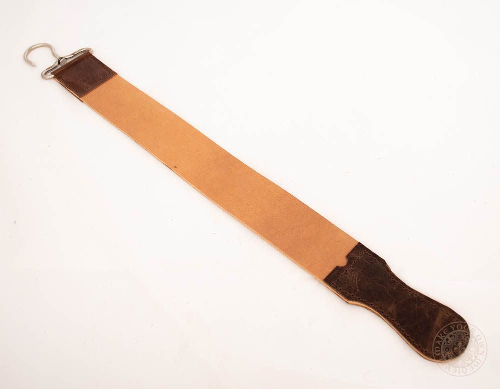 leather strop for sharpening shaving knives and barber cut throat razor blade