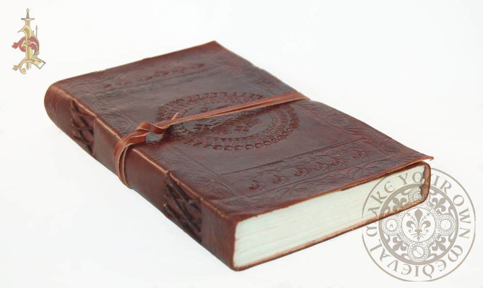 large Spanish Leather Flower Diary