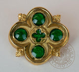 medieval  Enameled Gilded Brooch green and brass
