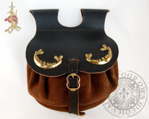 medieval bag 15th century reproduction Brown leather  with brass  fittings