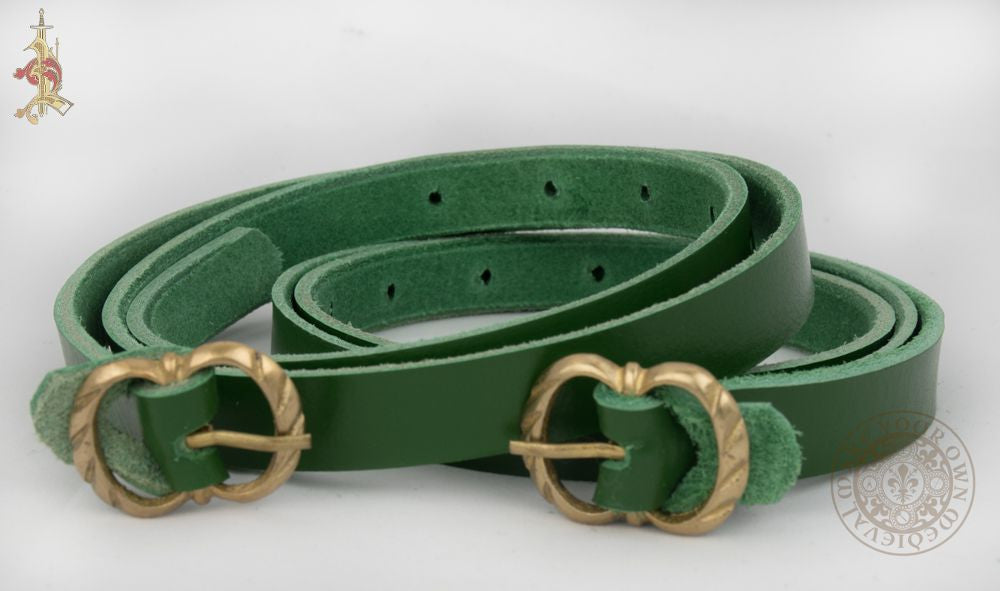 medieval garter for holding up ladies' hose made from veg tan leather with brass buckle