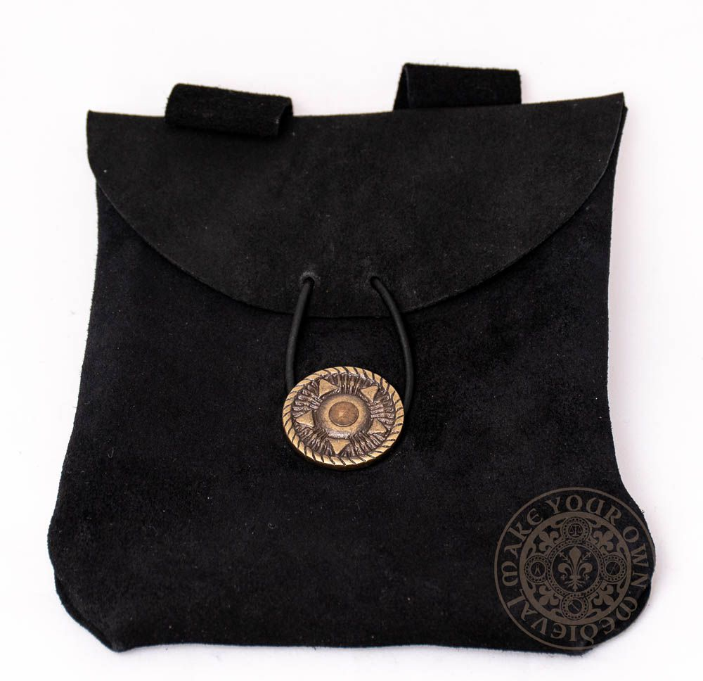 medieval leather bag in black suede leather with leather tie