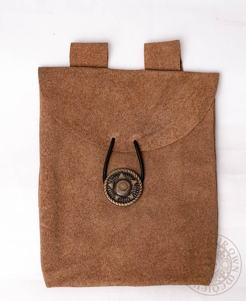 medieval leather bag in brown suede leather with leather tie