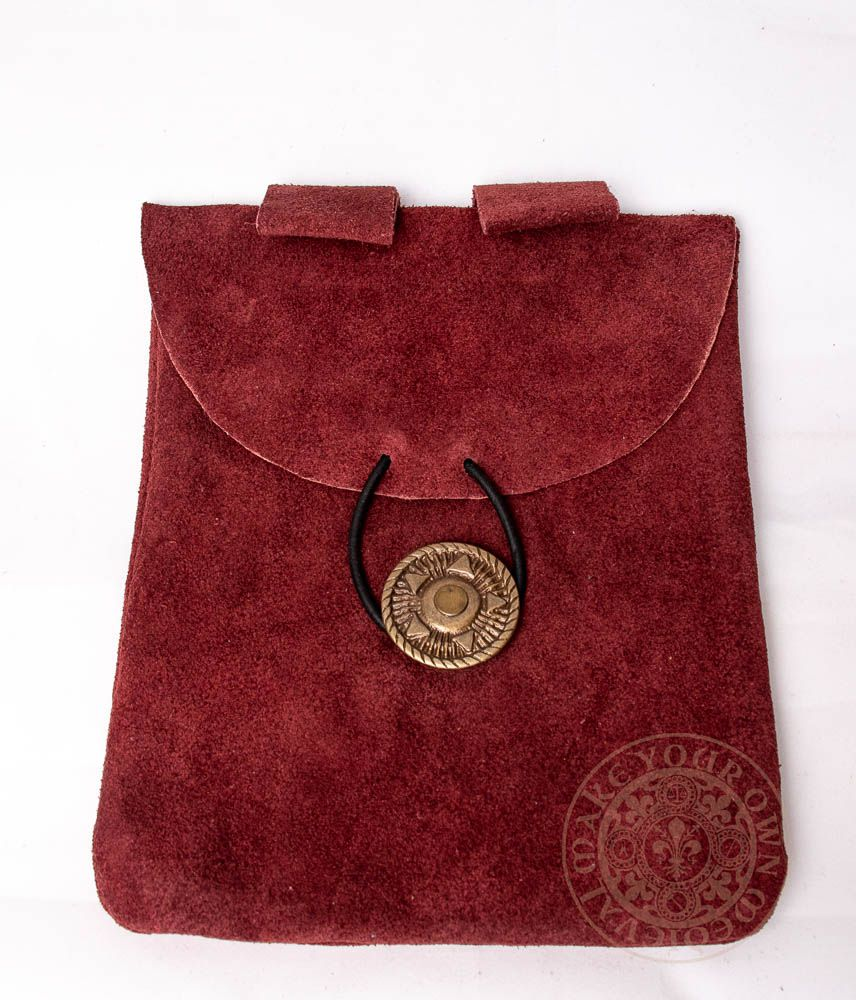 medieval leather bag in wine red suede leather with leather tie