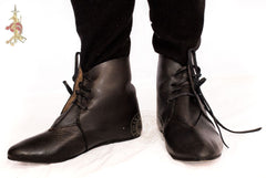 medieval reenactment shoes made from Black leather Australia