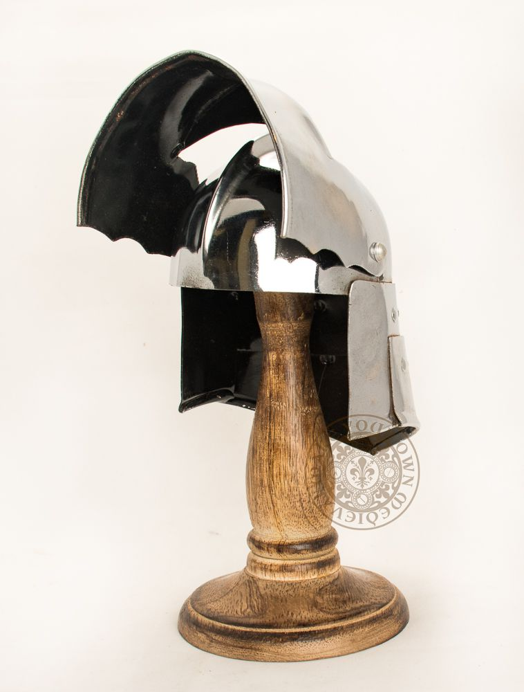 mini medieval 15th entury helm with movable visor