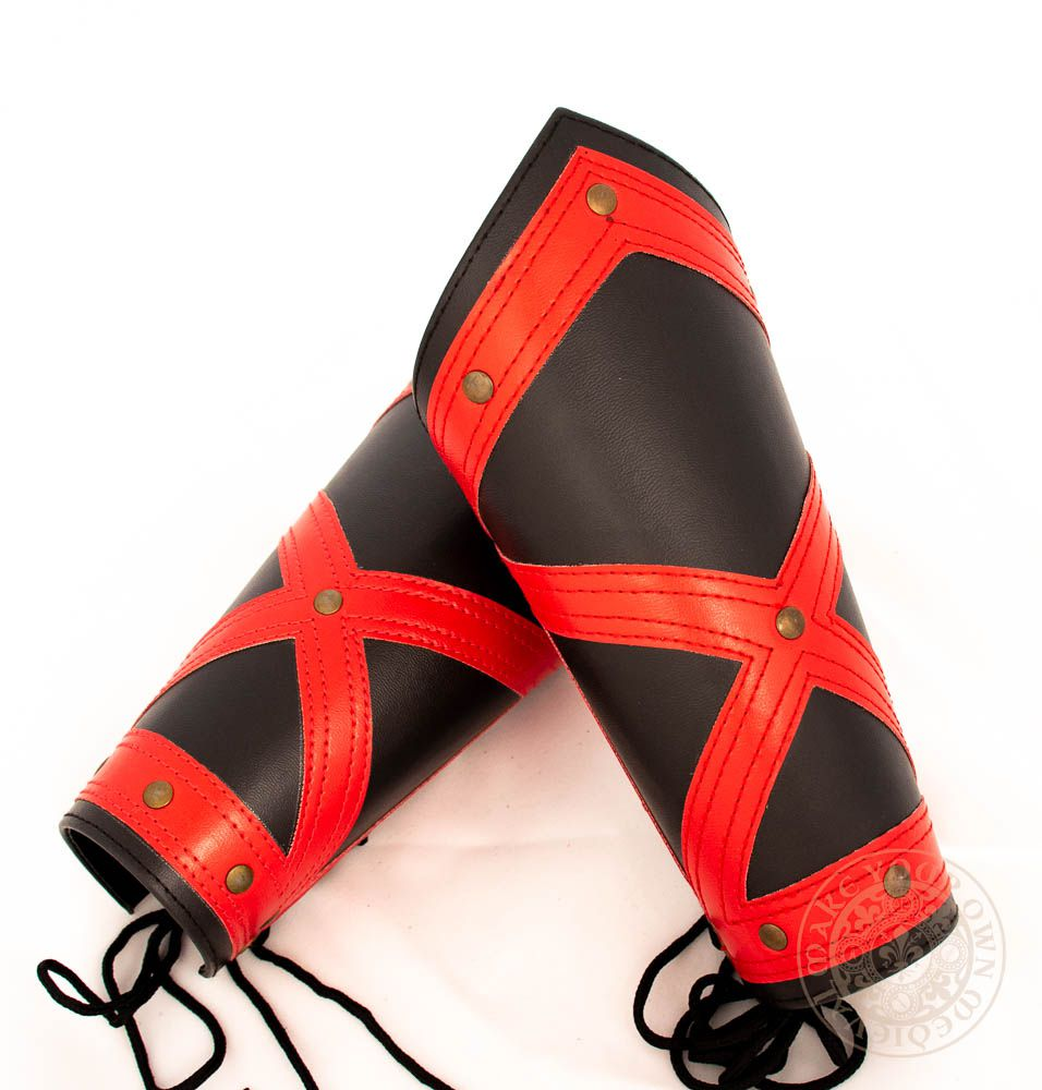 red and black cross leather LARP bracers